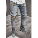 Mens Fashionable Light Blue Solid Ripped Broken Holes Detail Skinny Jeans