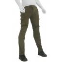Men's Outdoor Simple Plain Pleated Detail Multi Pockets Skinny Fit Motorcycle Pants