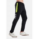 Men's Casual Letter FREE Print Color Block Tape Panel Quick Drying Active Trousers