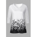 Fashion Long Sleeve V-Neck Floral Print Lace Patched Loose Fit T Shirt for Female