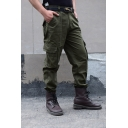 Outdoor Sport Training Solid Zipper Placket Straight Fit Army Green Work Pants