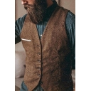 Solid Color V-neck Single Breasted Slim Fit Vintage Waistcoat Suit Vest for Men