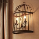 2 Heads Crystal Wall Sconce Industrial Rust Birdcage Living Room Wall Mounted Light