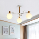 Contemporary Spherical Ceiling Chandelier White Glass 3 Bulbs Bedroom Hanging Light Fixture with Bird