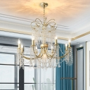 Candlestick Living Room Chandelier Light Simple Crystal 6/8 Lights Gold Suspension Lighting