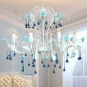 8 Bulbs Candle Hanging Chandelier Traditionalist Pink/Blue Glass Ceiling Suspension Lamp with Porcelain Flower Decor