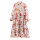 Apricot Pretty Women's Long Sleeve Lapel Collar Button Down All Over Floral Printed Midi Swing Shirt Dress with Cami Top