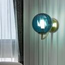 Modern 1 Bulb Sconce Light Brass Globe Wall Mounted Lighting with Blue Glass Shade