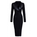 Black Elegant Long Sleeve Lapel Neck Leather Patched Maxi Wrap Bodycon Dress for Women