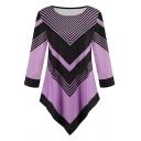 Trendy Women's Long Sleeve Round Neck Stripe Pattern Asymmetric Hem Relaxed Fit T Shirt