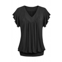 Plain Cozy Ruffle Sleeve V-Neck Ruched Cotton Relaxed Fit Tee for Women