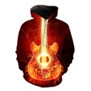 Orange Flame Guitar 3D Pattern Long Sleeves Casual Pullover Hoodie