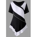 Fancy Women's Short Sleeve Surplice Neck Stripe Print Asymmetric Slim Fit Wrap Tee