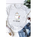 Summer Simple Rainbow Cat Letter I'M A UNICORN Print Short Sleeves Graphic Tee
