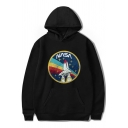 New Stylish NASA Letter Cartoon Rocket Print Long Sleeves Relaxed Loose Pullover Hoodie