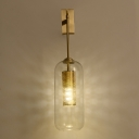 Simple Dual Cylinder Wall Mount Lamp Clear Glass 1 Bulb Golden Sconce Light Fixture
