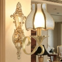 Traditionalism Scallop Wall Mount Light 1/2 Bulbs Metal Wall Lighting Fixture in Brass