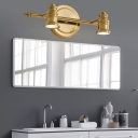 2/3/4-Bulb LED Metal Vanity Light Fixture Traditionalist Brass Linear Bathroom Wall Lamp