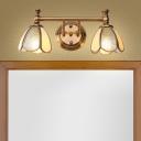 Metal Flower Vanity Mirror Light Traditional 2/3 Bulbs Bathroom Wall Lighting Fixture in Brass