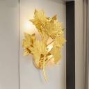 2/10 Lights Aluminum Sconce Lamp Modern Style Gold Maple Leaf Living Room Wall Mount Light