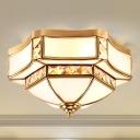 3/4/6 Lights Flush Ceiling Light Classic Dome Curved Opal Glass Flush Mount Lighting in Gold for Living Room