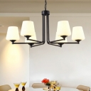 Milky Glass Tapered Chandelier Pendant Light Minimalism Style 6/8/10 Lights Black Finish Hanging Lamp