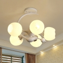 Flower Shade Chandelier Light Fixture Modern Style White Glass 5 Heads Dining Room Hanging Lamp