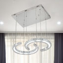 Chrome C-Shape Hanging Light Simple Style Crystal Block LED Chandelier Lamp in Warm/White/3 Color Light