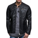 Men's Winter Solid Color Black Pleated Long Sleeve Zip Up Faux Leather Moto Jacket