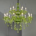 Green Candle Chandelier Light Modernism 6/18 Heads Beveled Crystal Prism Pendant Lighting for Bedroom, 23