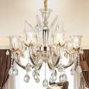 Modernist Flower Ceiling Chandelier Faceted Crystal 6/8 Bulbs Living Room Pendant Lamp in Amber