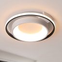 White Ring Ceiling Fixture Minimalist Acrylic LED Flush Mount Fixture in Warm/White Light, 16