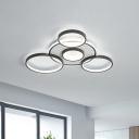 Black Loop Flush Mount Light Minimalist Acrylic LED Ceiling Lamp in Warm/White Light, 27.5