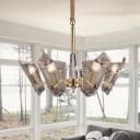 Curved Living Room Chandelier Lamp Clear Lattice Glass 6 Bulbs LED Modern Drop Pendant