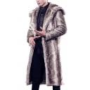 Mens Stylish Plain Long Sleeve Open Front Longline Faux Fur Coat Outdoor Overcoat