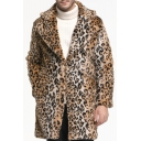 Mens Popular Leopard Pattern Notched Collar Long Sleeves Brown Longline Faux Fur Coat