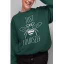Simple Letter Just Bee Yourself Printed Long Sleeve Round Neck Loose Pullover Sweatshirt