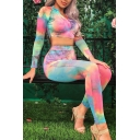 Unique Tie Dye Pattern Long Sleeve Half Zip Front Top with Skinny Pants Two Pieces Set