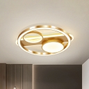 Gold Circle Flush Mount Light Fixture Postmodern Acrylic 18