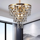 Tapered Hanging Ceiling Light Simple K9 Crystal 8/11 Heads Gold Chandelier Lighting