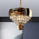 Teardrop Crystal Tapered Hanging Ceiling Light Modern 9 Heads Gold Chandelier Light Fixture