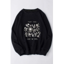 Simple Floral Letter PLANT THESE SAVE THE BEES Print Long Sleeve Pullover Sweatshirt