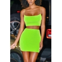 Womens Sexy Fashion Spaghetti Straps Cropped Tank with Mini Bodycon Skirt Plain Co-ords