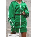 Green Active Striped Print Long Sleeve Zip Up Sweatshirt Coat with Zipper Front Mini Skirt