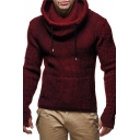 Drawstring Funnel Neck Long Sleeve Slim Fit Whole Colored Thick Knit Sweater