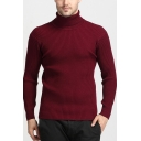 Mens Warm High Neck Long Sleeve Slim Fit Knitted Pullover Sweater