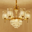 Cylinder Ceiling Chandelier Modern Crystal 6/8/10 Lights Gold Ceiling Light for Living Room