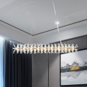 Linear Island Lighting Fixture Modern Style Clear Crystal 16 Lights Living Room Hanging Ceiling Light