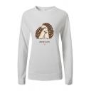 Cute Girls Cartoon Hedgehogs Printed Long Sleeve Round Neck Slim Fit Casual Sweatshirt
