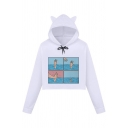 Women's Korean Style Cute Long Sleeve Bow Tie Drawstring Comic Patterned Loose Fit Crop Cat Ear Hoodie in White